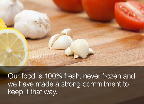 100% fresh, Never frozen.