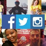 Collage of social media images featuring customers in Zankou Chicken t-shirts