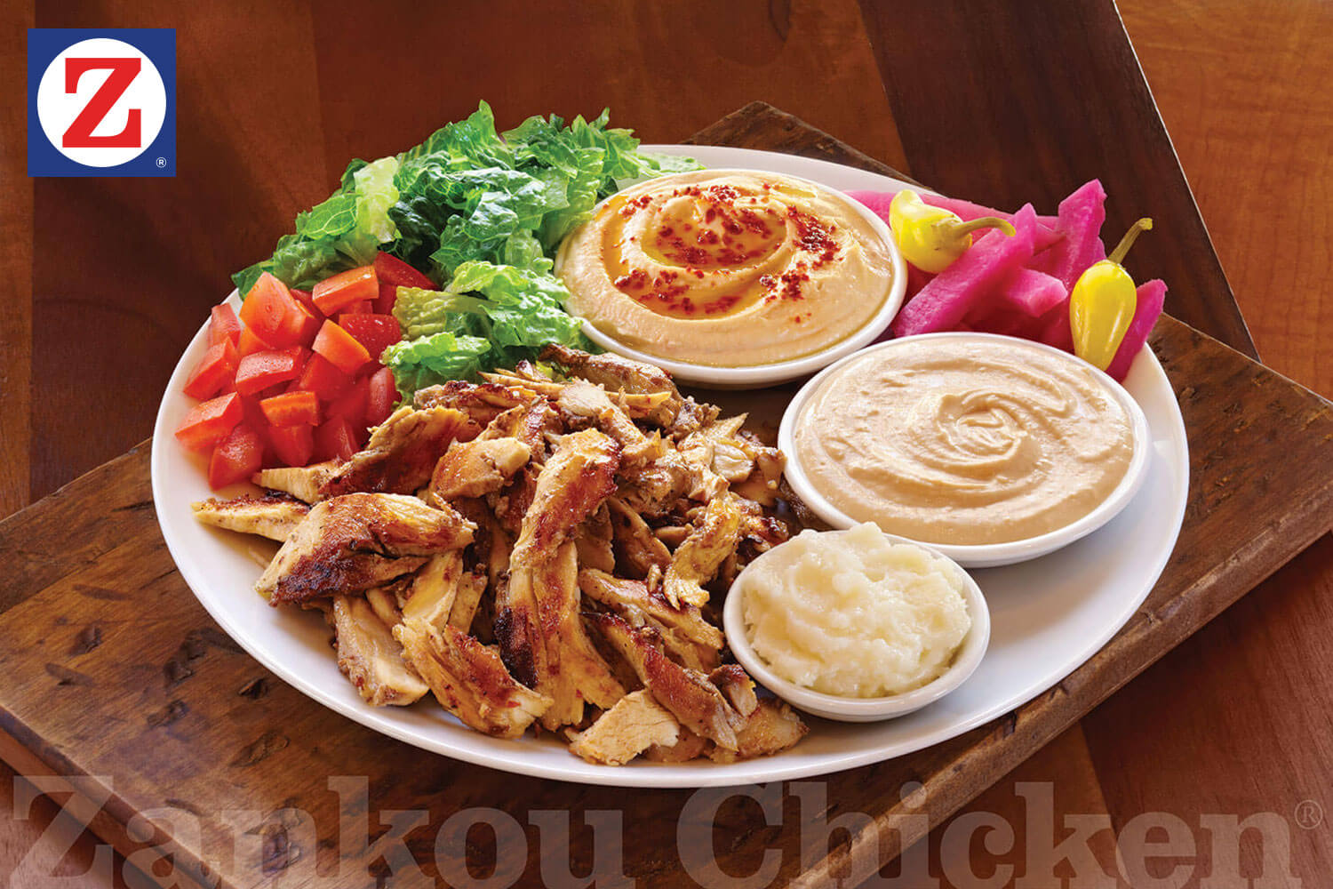 Chicken tarna plate with sides