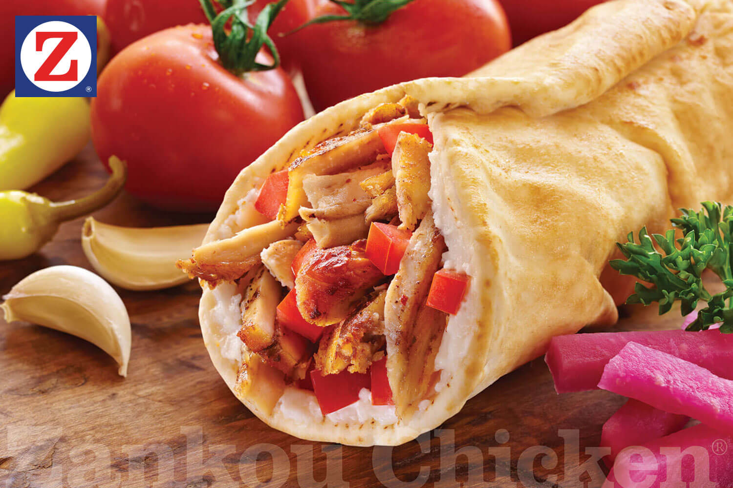 Chicken tarna wrap close-up