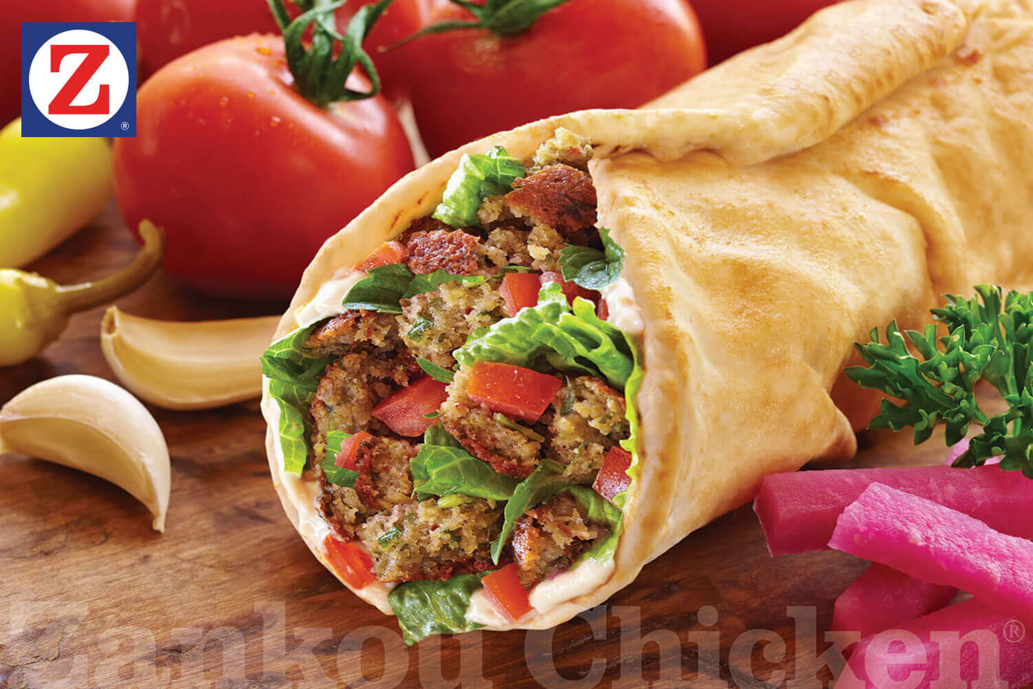 Falafel wrap close-up