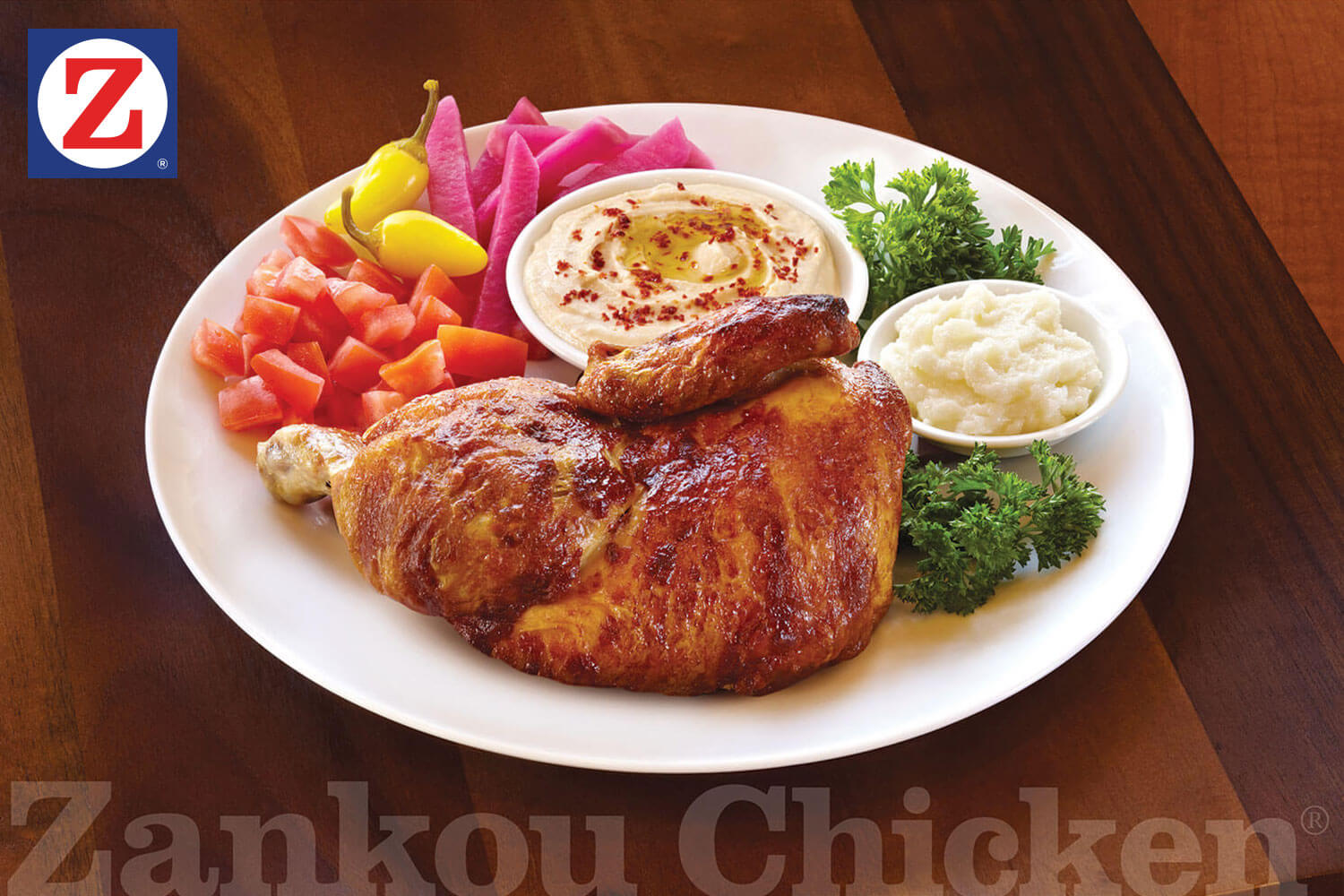 Half chicken plate with sides