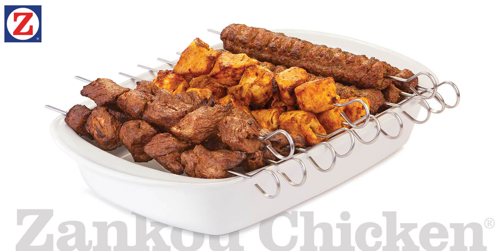 Catering tray of shish, chicken and lule kabobs
