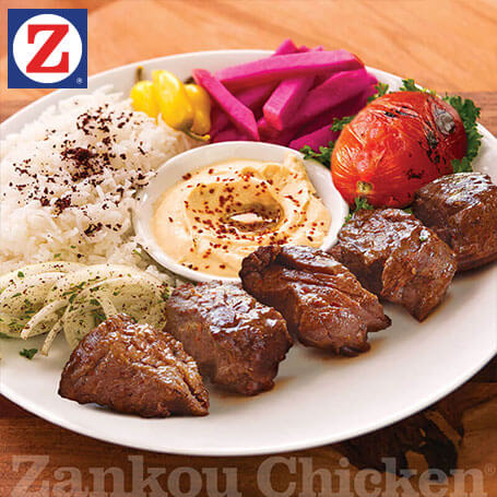 Single skewer shish kabob plate and sides