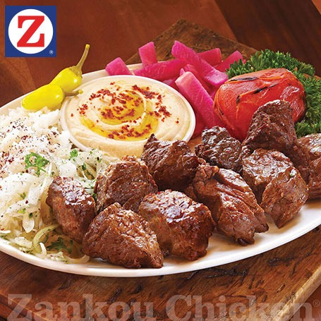 2-skewer plate of shish kabob and sides